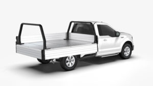 Tri-Gate operable pick up bed with tailgate and side gate lowered for easy loading